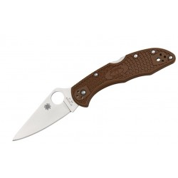 Navaja Spyderco Delica Flat Ground Plain Edge Brown FRN