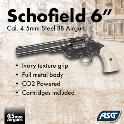 "Revólver ASG Schofield 6"" Plated Steel Full Metal Co2 BBs"