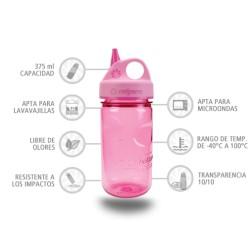 Botella Nalgene Grip'N Gulp Rosa 375 ml